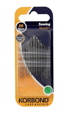 Korbond 20 Sewing Needles Assorted Sizes Hand Dressmakers Care Repair Art Craft