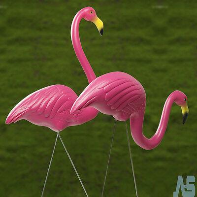 A Pair Plastic Flamingo Lawn Figurine Garden Party Grassland Ornament Decor