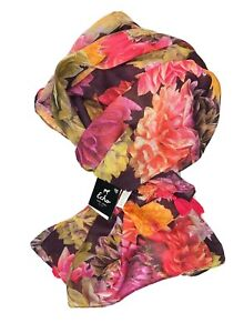 ECHO-DESGN-OS-WOMEN-S-LARGE-WRAP-RECTANGULAR-SCARF-BRIGHT-PINK-FLOWERS-FLORAL
