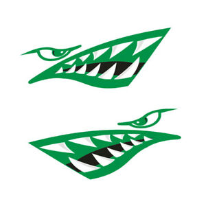 2x Shark Teeth Mouth Decal Sticker For Car Truck Kayak Boat Fishing Graphics