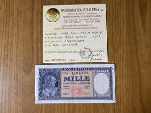 REPUBBLICA ITALIANA BANCONOTA Lire 1000 ITALIA MEDUSA 1947 certificata SPL+