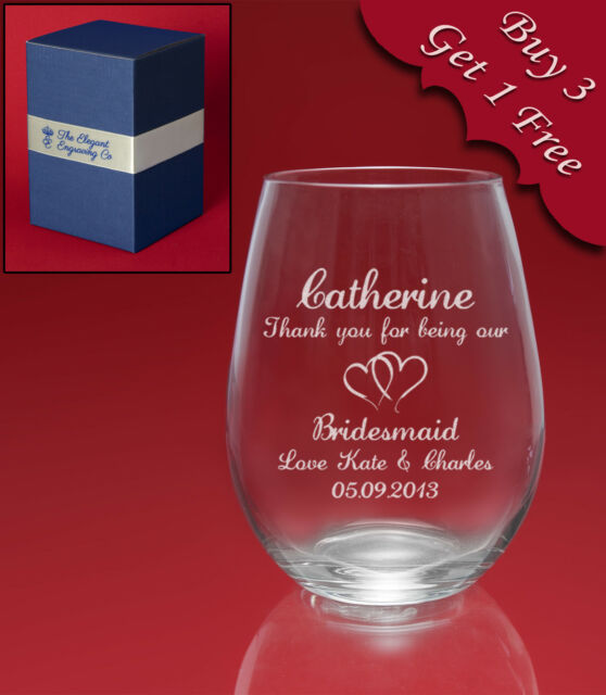 Personalised Engraved STEMLESS Wine Glass-Weddings Birthdays etc-Message+Image