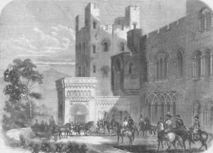 Wales. Reception Of Queen, Entry To Penrhyn Castle, Antique Print, 1859