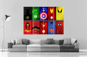 Comics Super Heros Characters Wall Poster Grand Format A0 Ref5 Price Guides & Publications