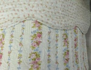 DOUBLE-QUILT-SHABBY-CHIC-CREAM-100-COTTON-Floral-flower-quilted-bedspread