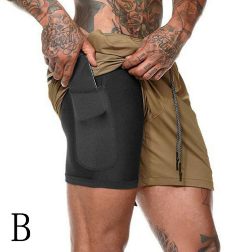 Men/'s 2 in 1 with Phone Pocket Running Shorts Sports Quick Dry Short Pants