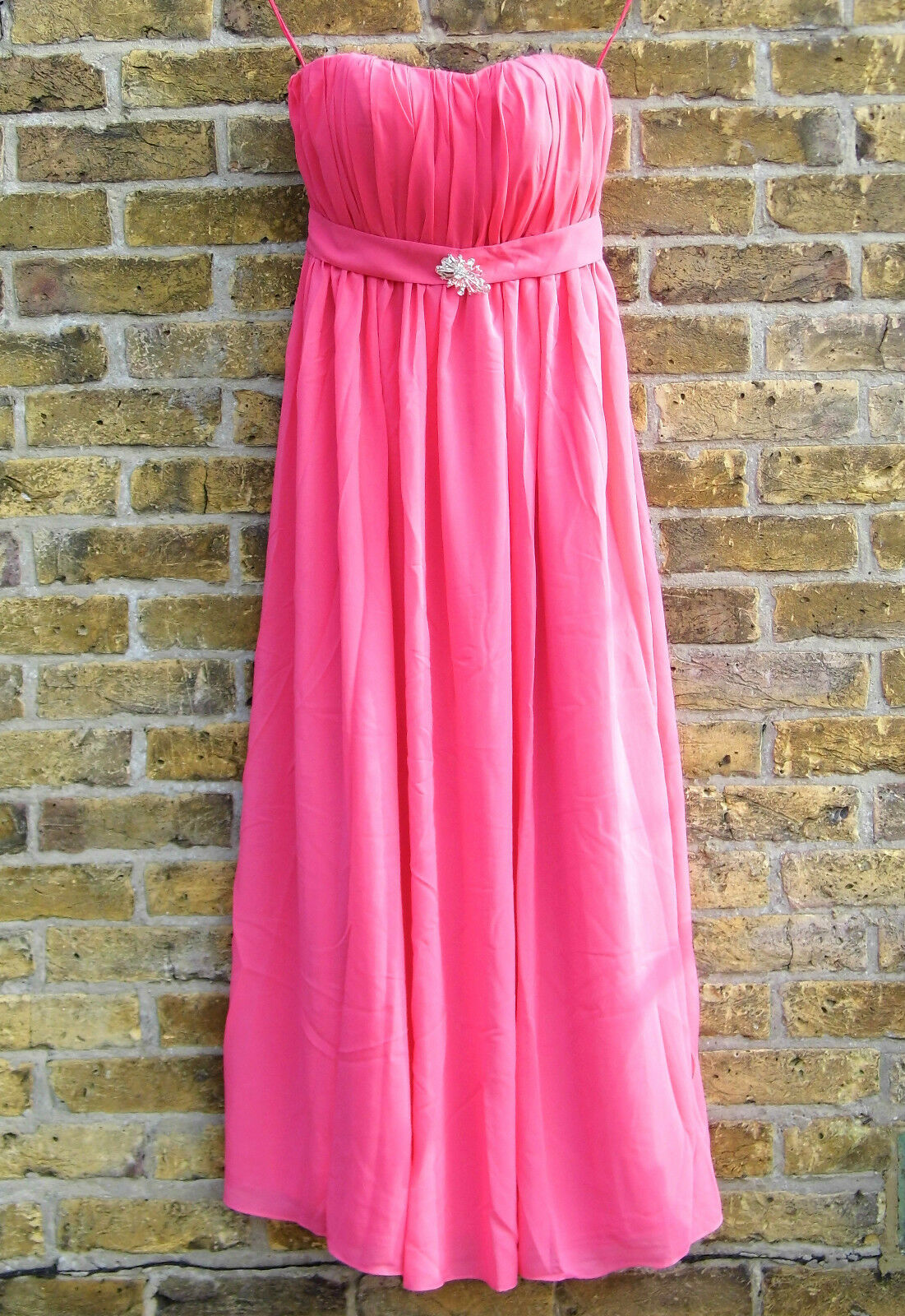 Evening Dress; Size 12 Strapless Empire Line Hot PInk Chiffon Gown