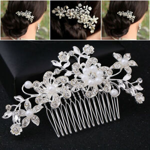Bridal-Hair-Comb-Pearl-Crystal-Headpiece-Wedding-Accessories-Silver