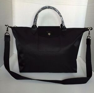 a5b48b43c33a Image is loading Longchamp-Le-Pliage-Neo-Medium-Black-Hobo-Handbag-