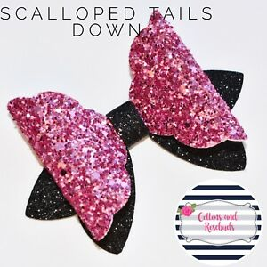 4 scalloped tails down bow 10cm plastic bow template make glitter