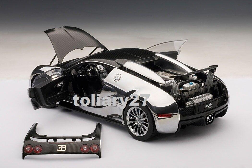 1 18 Autoart Bugatti Veyron 16.4 Pur Sang Noir Aluminium 70966 Ltd. NOUVEAU & NEUF dans sa boîte