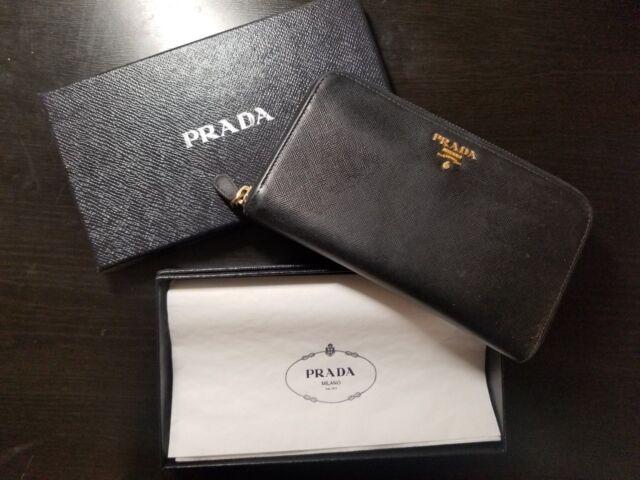 ace795741332 PRADA Womens Saffiano Leather Zip Around Wallet Black for sale ...