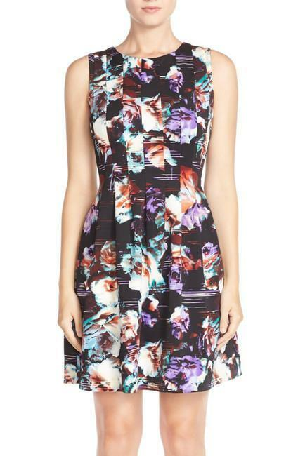 VINCE CAMUTO Floral Pleated Scuba Fit & Flare Dress 10P NWT Womans (MSRP ()