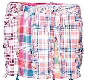Da-Donna-Cargo-Shorts-a-Quadri-Pantaloni-Corti-Bermuda-Capri-Short-Chino-Estate-al-ginocchio-per