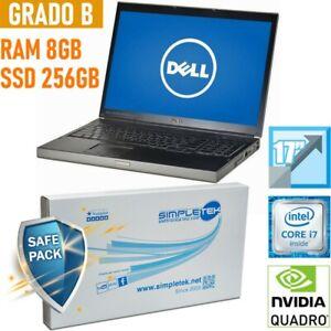 "PC PORTATILE NOTEBOOK WORKSTATION DELL M6500 17"" I7 8GB 256GB NVIDIA QUADRO CAD-"