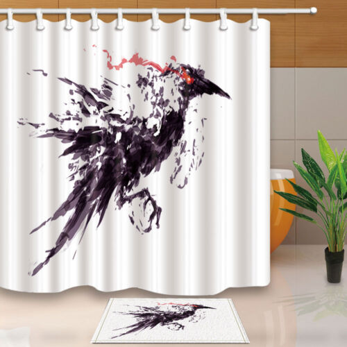 Halloween crows Shower Curtain Bathroom Waterproof Fabric /& 12Hooks 71*71inches