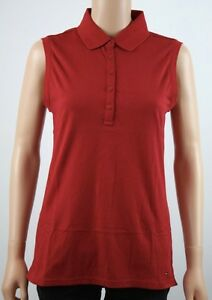 df1892e6 Image is loading Tommy-Hilfiger-Golf-Red-Sleeveless-Polo-Shirt-M