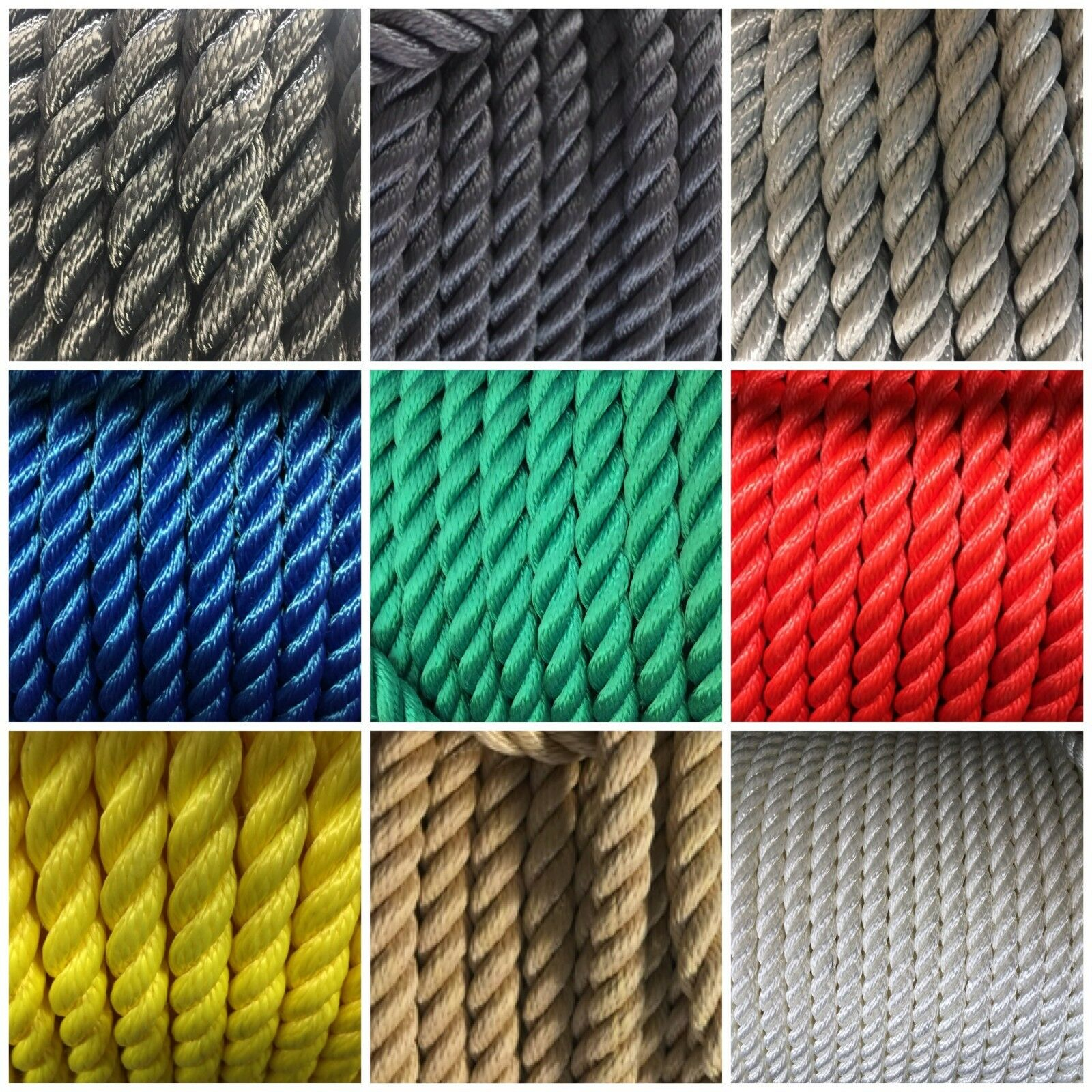 3 Strand Floating H.T.Polypropylene Mooring Line Yacht Rope All Size & Colours