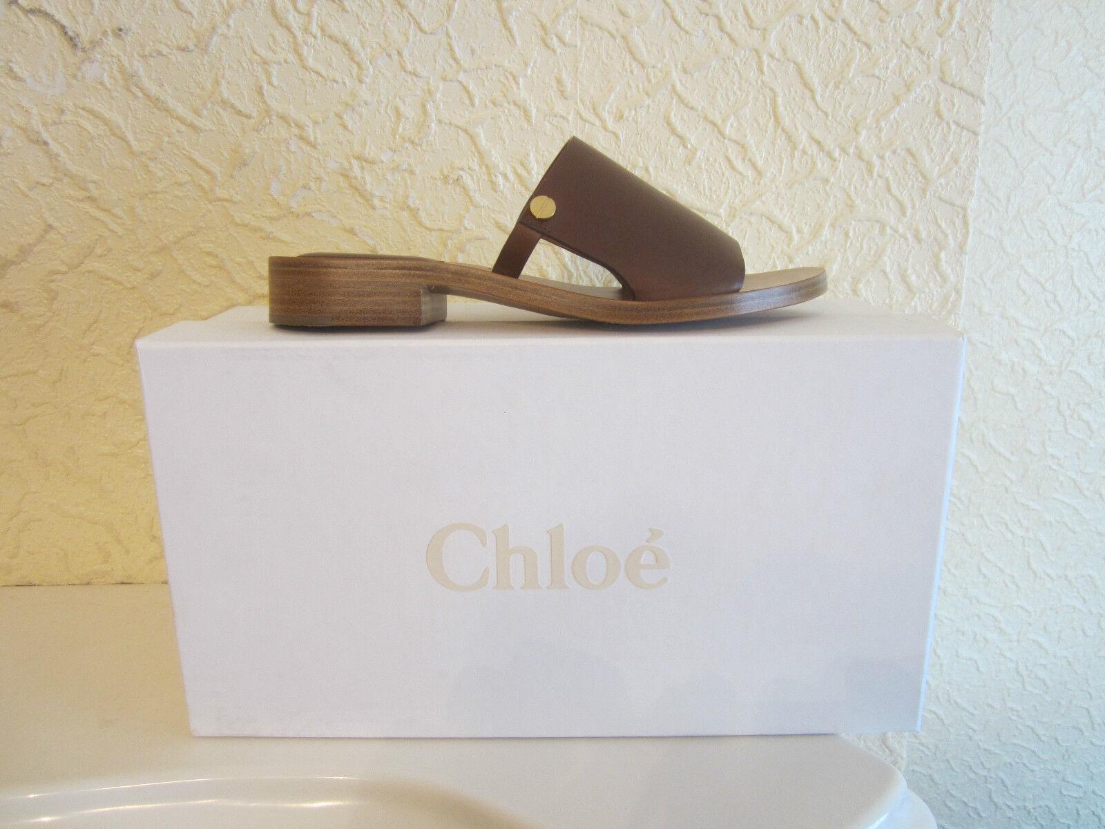 Chloe& 039; Leather Slide Sandals