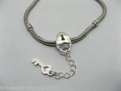 AC-SP532 5 X Silver Plated Lock Charm with Key Chain Amulet European Beads