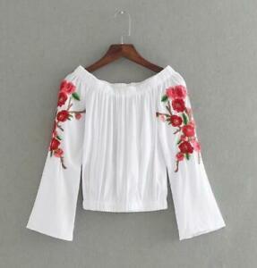Women-Leisure-Embroidery-Flower-Just-Cavalli-Vogue-Long-Sleeve-Blouse-Shirt-YHTF