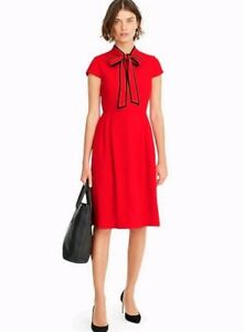 NWT-J-Crew-Tie-neck-Dress-in-365-Crepe-Bright-Cerise-Red-Sz-10-BLOGGER-FAVE-160