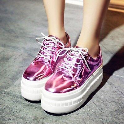 Women's Fashion Flat Heel Platform Round Toe Lace Up Patent Leather Shoes New SZ