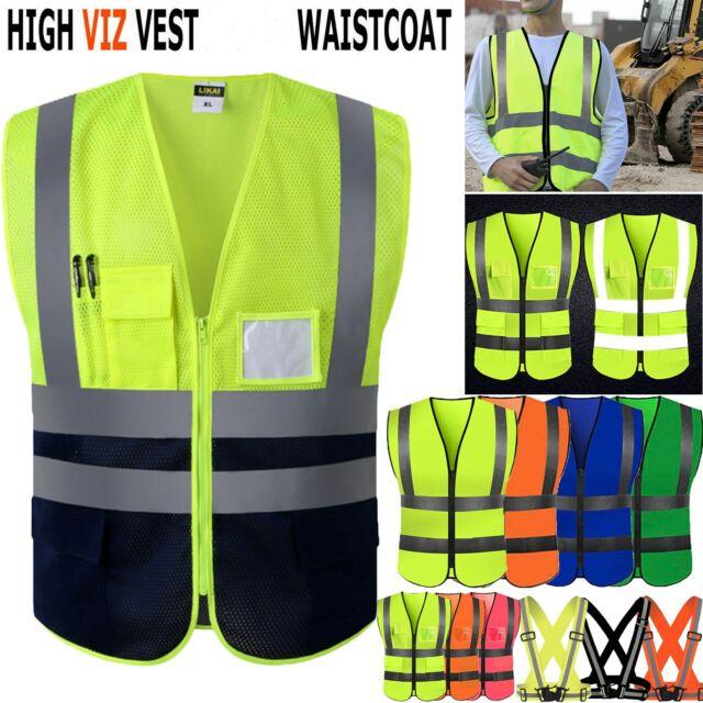 Adjustable Safety Security High Visibility Reflective Vest Jacket 12 Colors