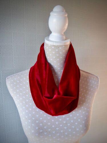 Velours Rouge SNOOD Cowl Scarlet Loop écharpe cadeau de Noël Luxe Accessoires