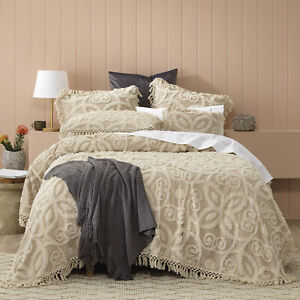 Bianca-Sheba-100-Cotton-Chenille-Bedspread-Set-Taupe-King-amp-Queen-Size