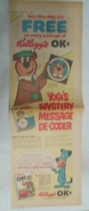 Kellogg's Cereal Ad: Yogi Bear Message Decoder! From 1961 Size: 7.5  x 22 inches