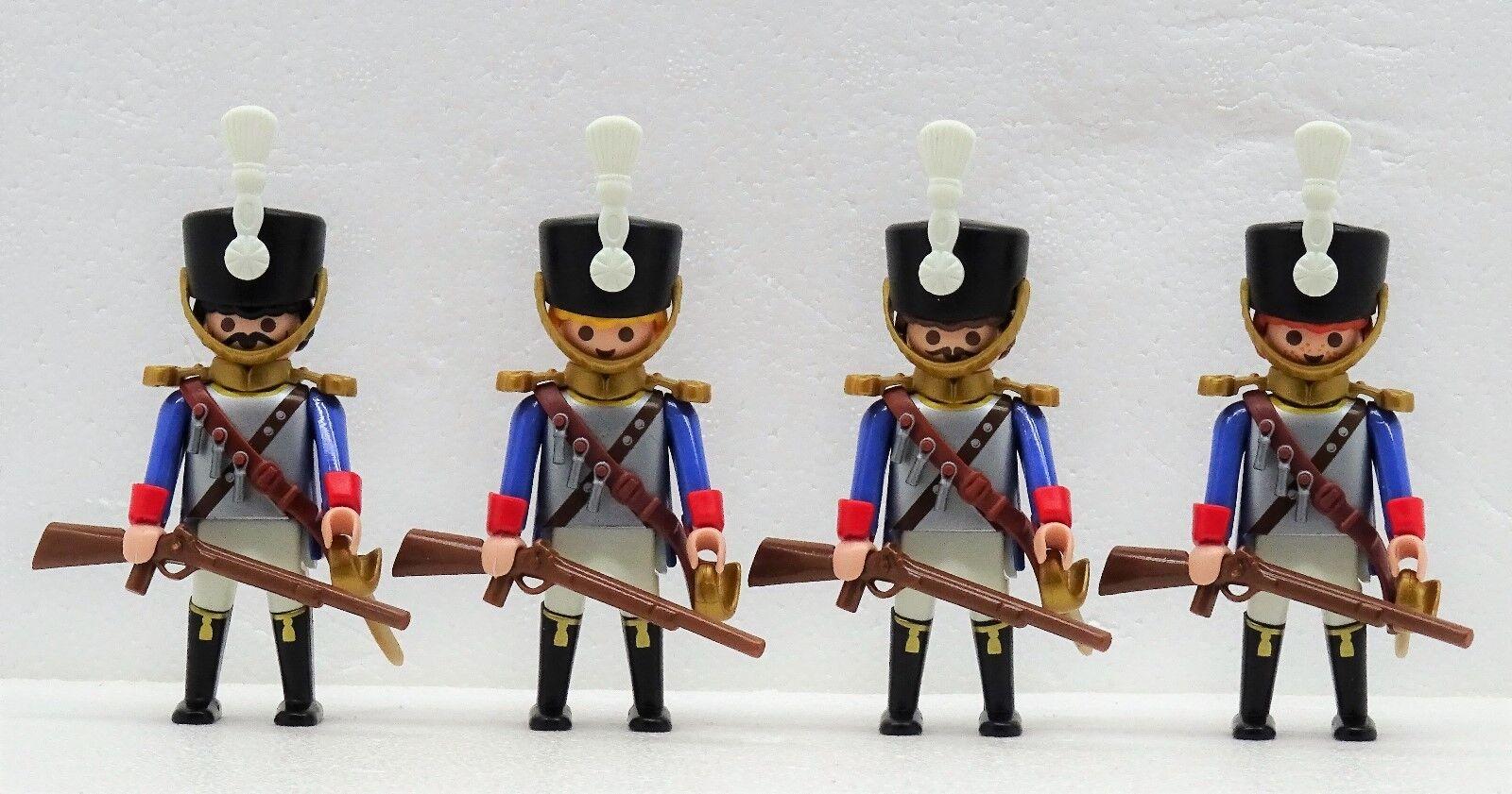 4 X CUIRASSIER CARABINIER FRANZOSE GARDE REITER Playmobil zu Napoleon Husar 1er
