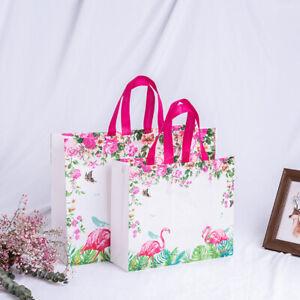 Damen-Einkaufstasche-Vliesstoff-Flamingo-Druck-Faltbar-Wiederverwendbar-Schulter