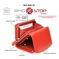 RFID blocking GENUINE leather LADIES PURSE - 100% PROTECTION contactless cards
