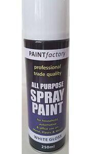 5 X White Gloss Spray Paint All Purpose Metal Plastic Wood
