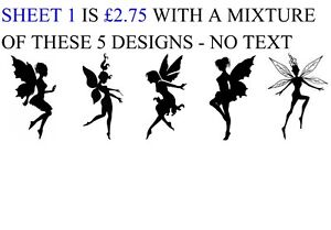 65 Mixed Fairy Silhouette Small Sticky White Paper Stickers Labels NEW