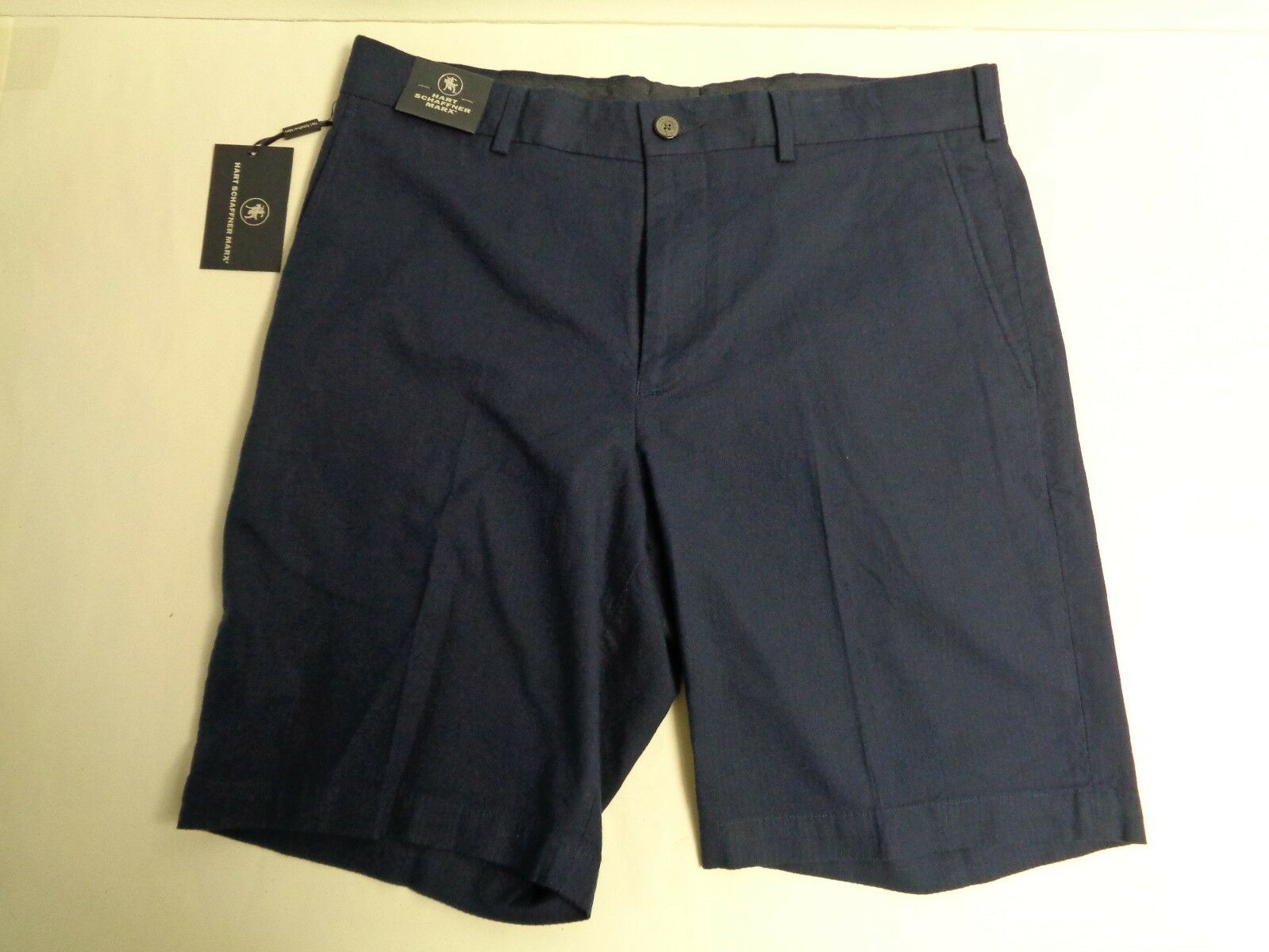 Hart Schaffner Marx Size 34 FLAT FRONT bluee Navy Cotton Shorts New Mens Clothing