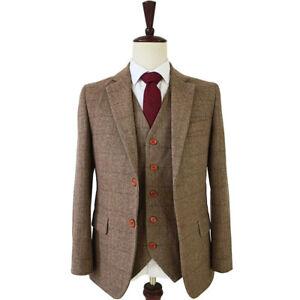13f393a161 Details about Classic Tweed Wool Blend Men Suit Herringbone Check Plaid Khaki  Striped Blazer