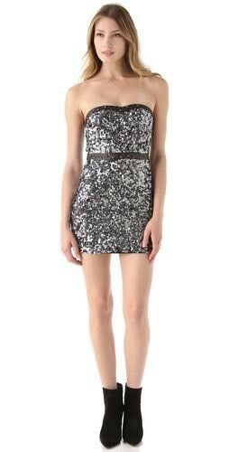 New Nwt Free People Strapless Beads Sequins & Leather Embellished Sz 4 Gunmetal