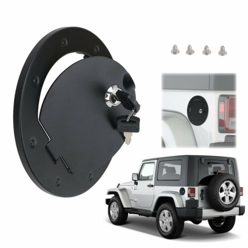 Fit 07-17 Jeep Wrangler 2//4 Door Locking Fuel Tank Gas Cover Housing Aluminum