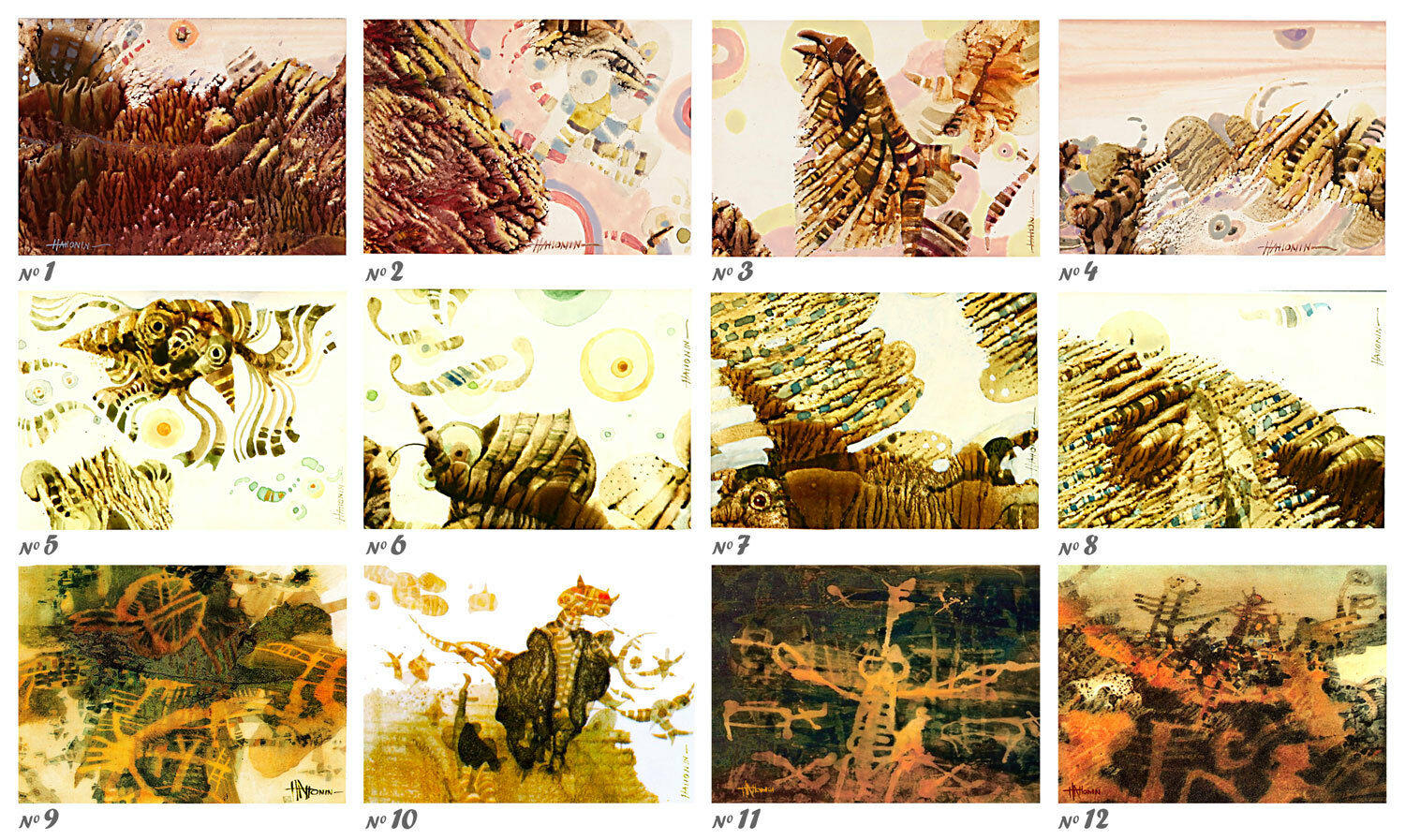 12 Different Owls ACEO LE Prints of Original Paintings by Sergej Hahonin
