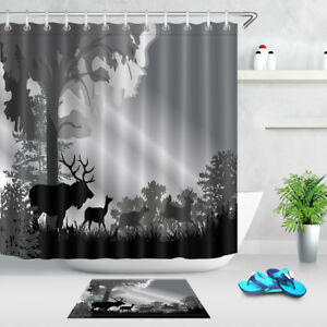 Image Is Loading 71X71 034 Grey Forest Deer Shower Curtain Set
