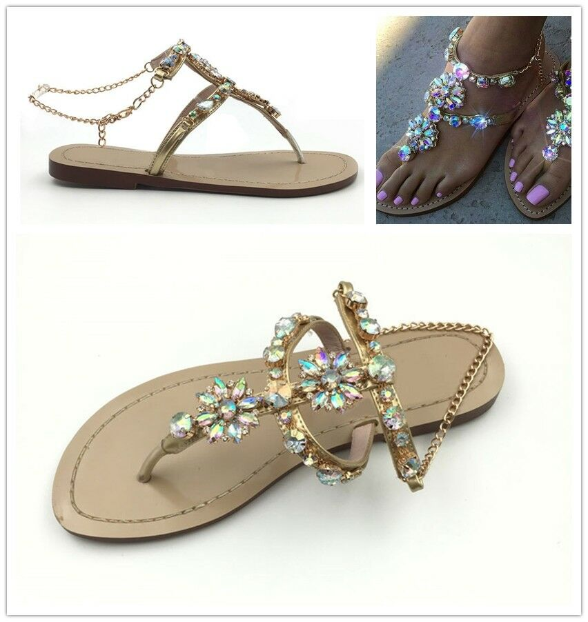 Summer T-strap Sandale Thong Chain Crystal Rhinestone Flats Schuhes Gladiator Sexy