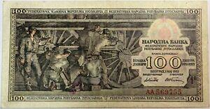 YOUGOSLAVIE-100-DINARA-1953-Billet-de-banque-TTB