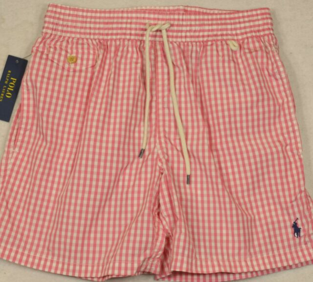 42312749 Polo Ralph Lauren Swim Briefs Shorts Pink Checked Swimming Trunks Mens XL