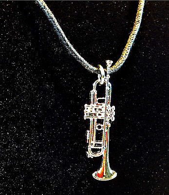 Trumpet Jewelry Pendant Nickel Silver Plated on Black Braided Twine Necklace
