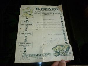 Ancienne-facture-1941-H-Provent-Peau-de-Tambour-Gosse-Caisse-Jazz-Timbale-LYON