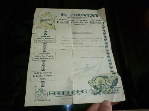 Ancienne facture 1941 H Provent Peau de Tambour Gosse Caisse Jazz Timbale LYON