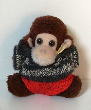 Affe mit Strickpulli + Hose - kleines Plüschtier - Stofftier Schimpanse - braun