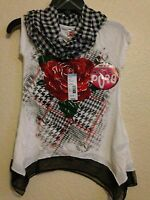 Knit Works, 2 Pc Short Sleeve Shirt, Infinity Scarf, Size 7/8, Retail 30.00